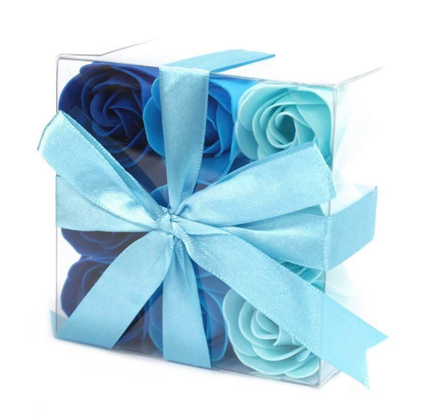 Coffret de 9 roses bleu 1