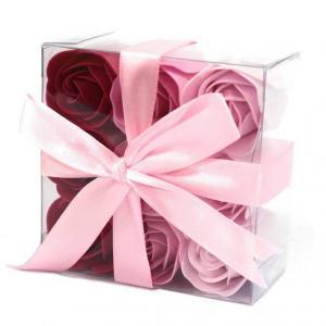 Coffret de 9 roses rose 1