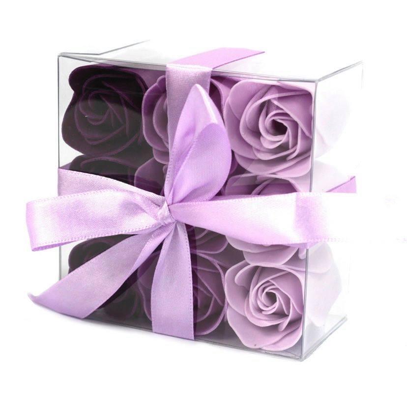 Coffret de 9 roses violet 1
